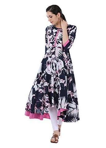 Black and Pink Printed Anarkali Kurtis