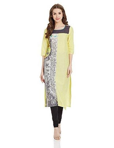 Yellow Straight Kurti in Print and Plain style