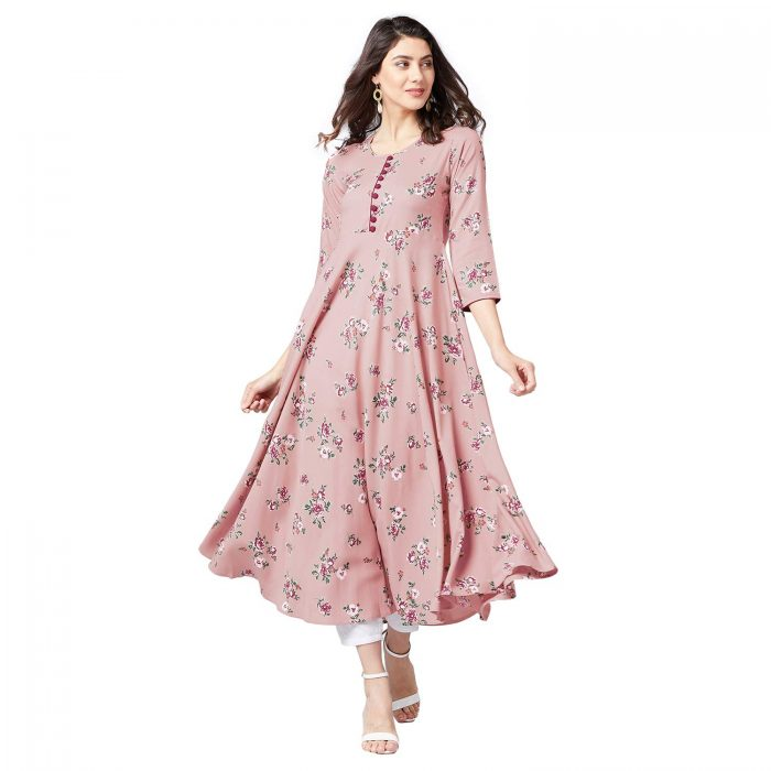 Dusty Pink & Red Floral Printed A-Line Kurta