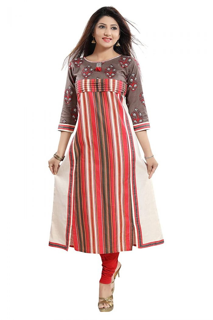Front Cut Style Cotton Kurti for Fat ladies to Look Tall