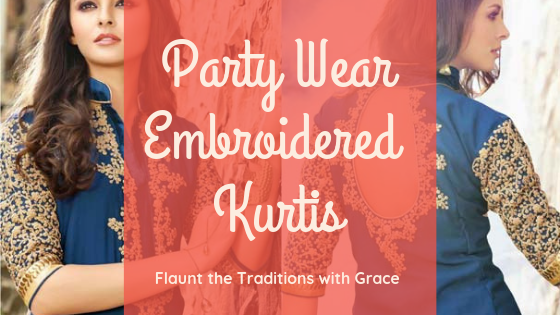 Party Wear Embroidered Kurti-HerKurtiShop