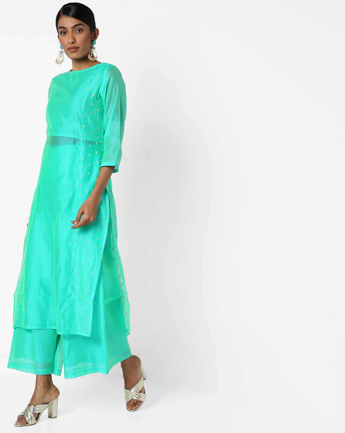 blue-green-chanderi-silk-kurti-for-wedding