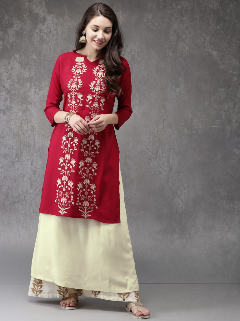 embroidered red kurti with palazzo