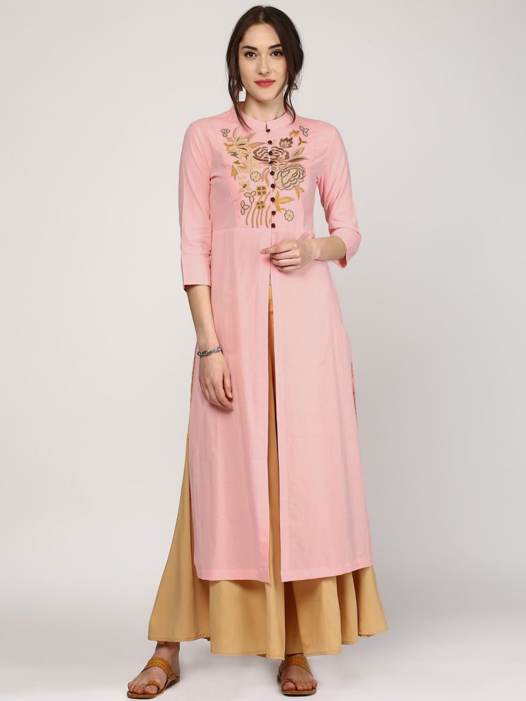front slit plain party wear embroidery kurti