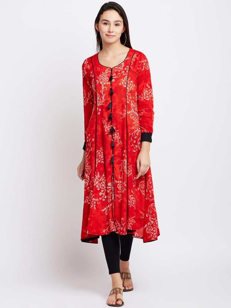 red and black kurti with white print