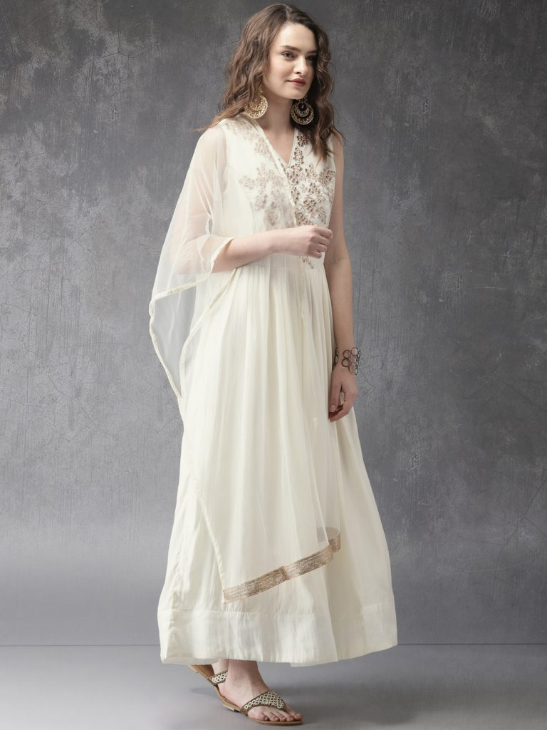white embroidered anarkali kurta