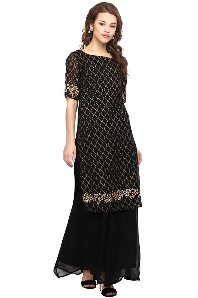 black half sleeves georgette kurti