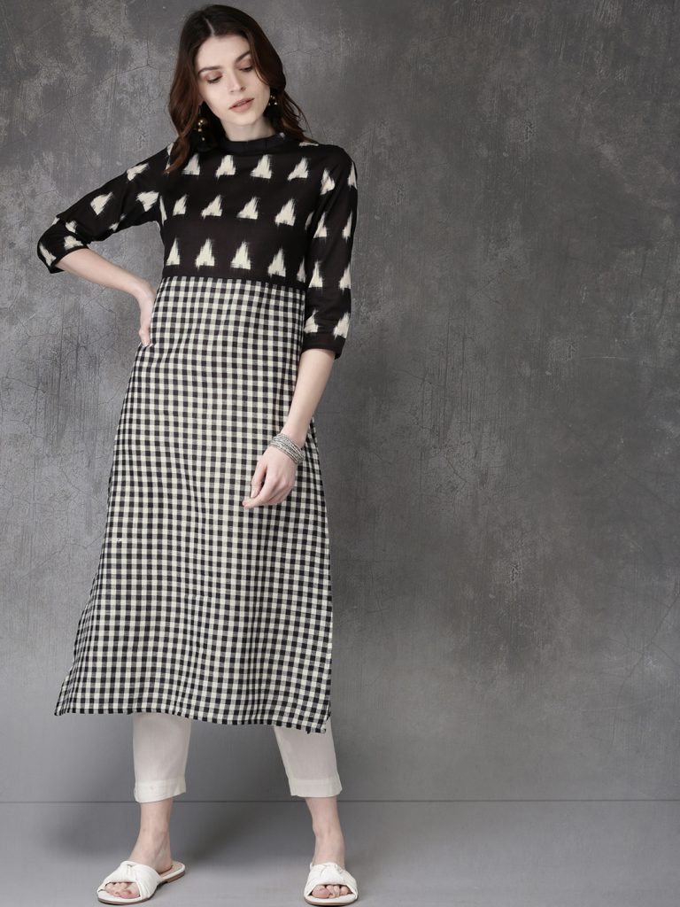 checked black and white cotton office wear kurta