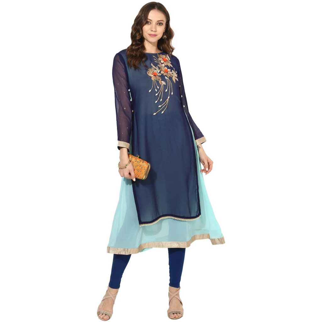 double layer embroidered anarkali kurti