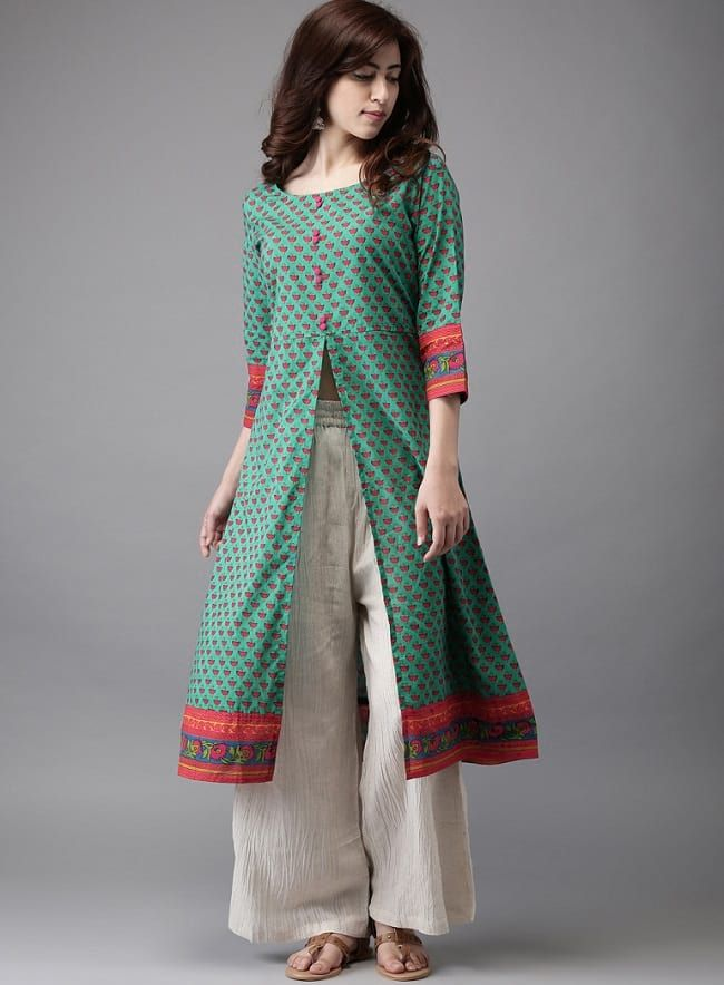 front cut kurti with plazo pants1