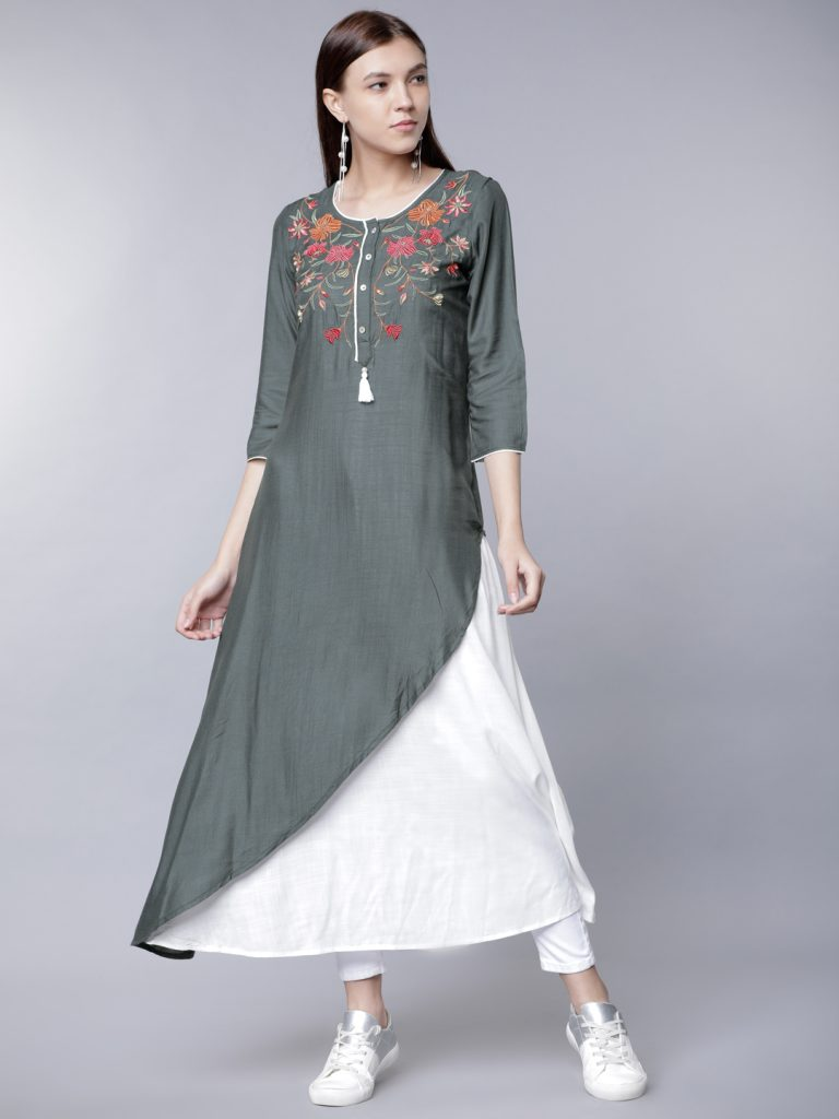 grey white double layered kurta
