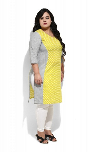 lemon green plus size kurti
