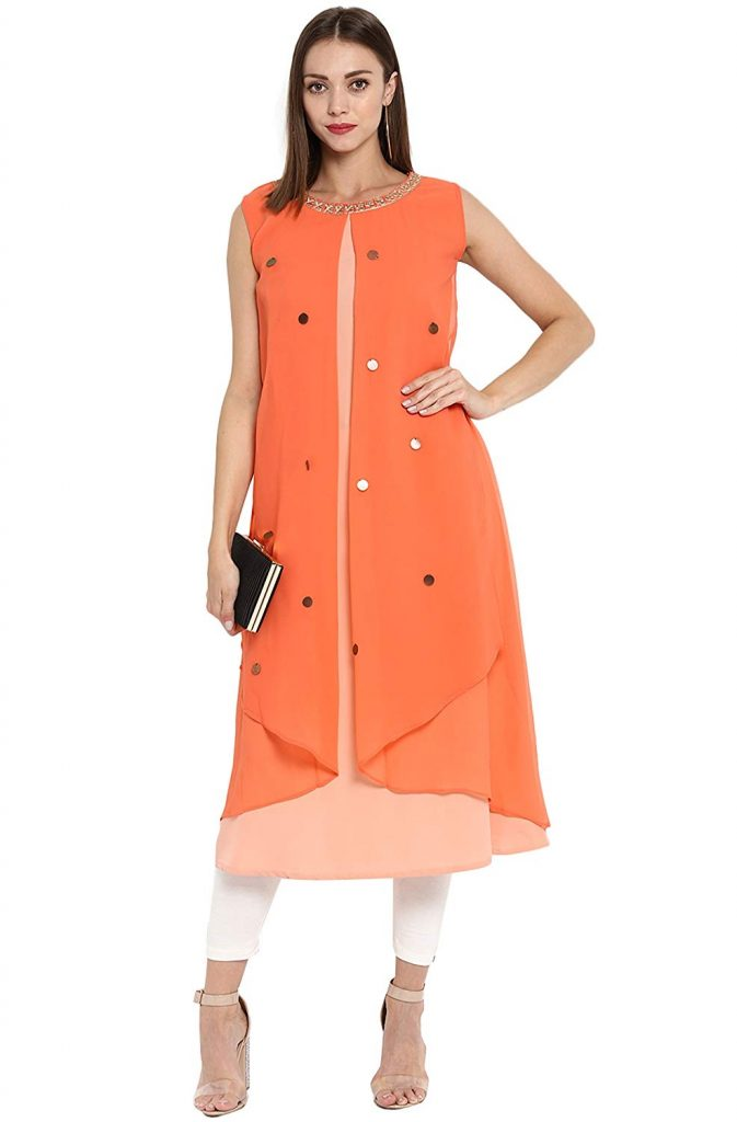 orange party wear georgette kurti