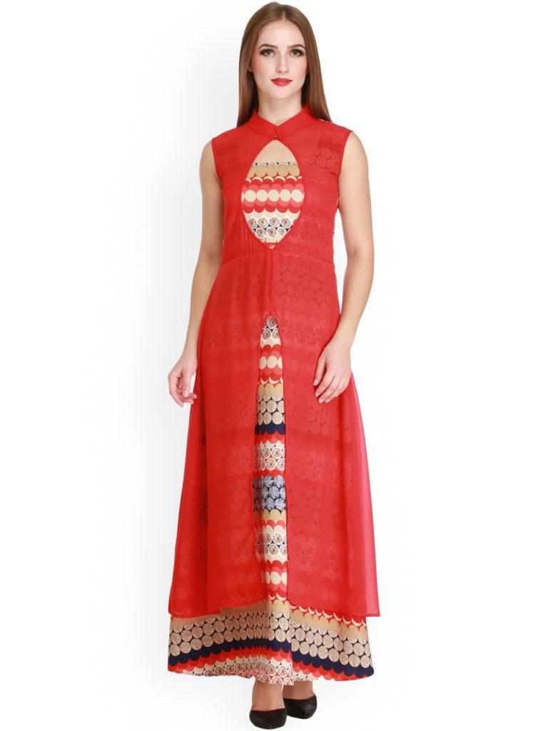 red long georgette kurti