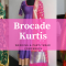 Brocade Kurti Designs for Wedding & Party Looks