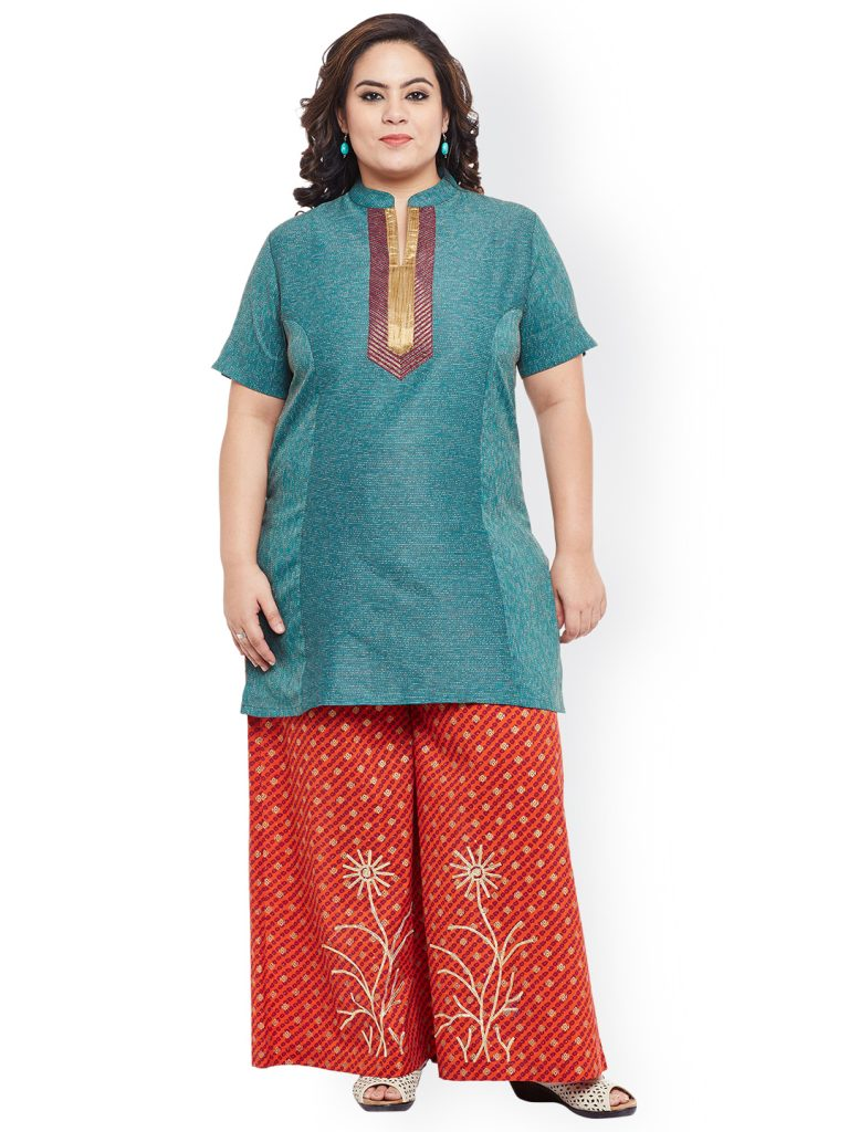 Blue Plus Size cotton short kurta for women