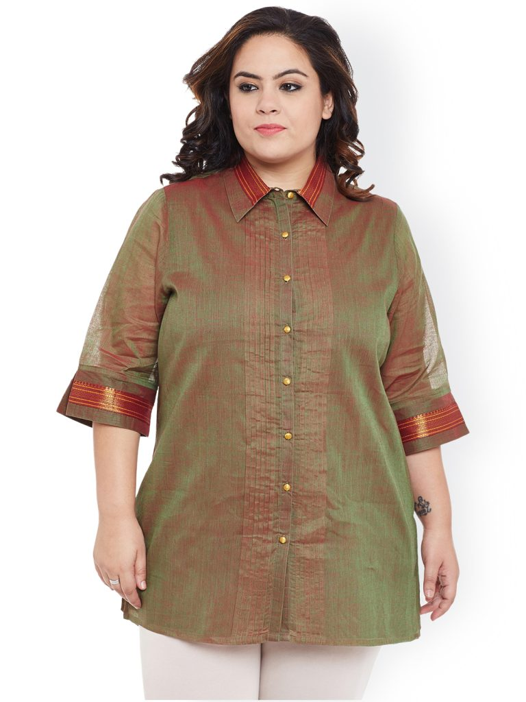 Silk Shirt Type Short Kurta for plus size