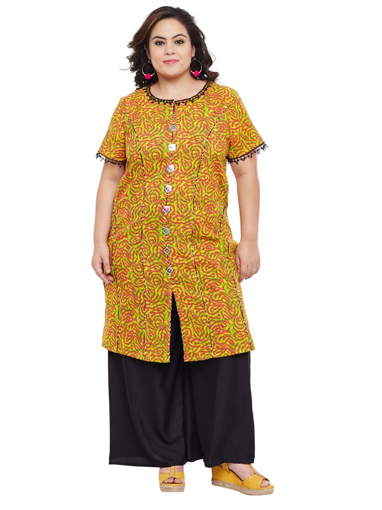 Yellow Plus Size short kurta for women
