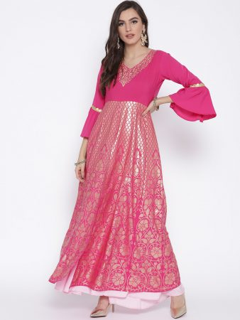 Flare long heavy wedding kurti