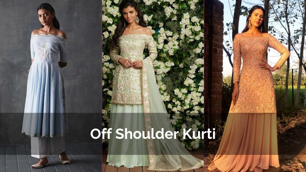 Latest Off Shoulder Kurtis Designs for Party