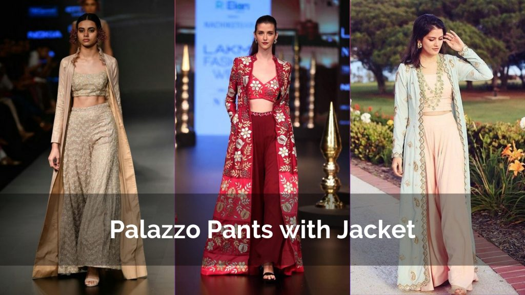 Unique & Stylish Palazzo Pants with a Jacket Style Kurta Designs for Party