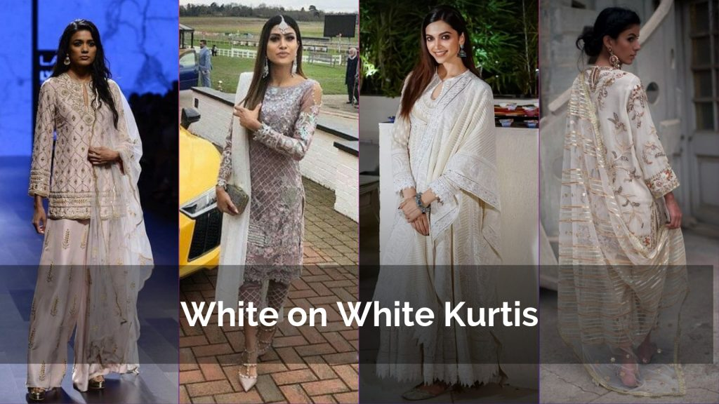 White Dupatta, bottoms on White Kurta for party