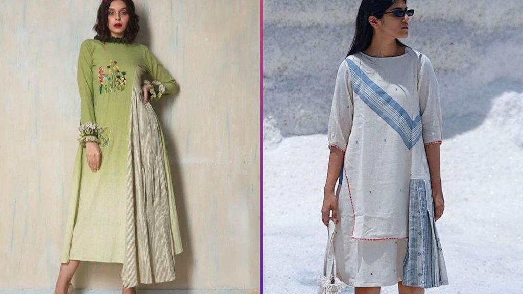 Half Flared and half Straight Kurti