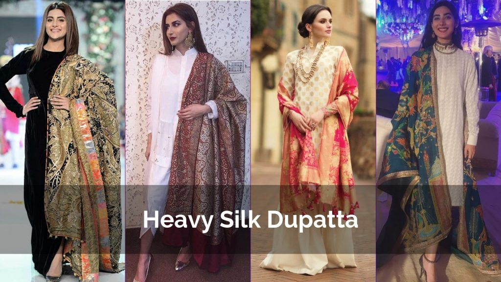 Heavy Silk Dupatta Designs for Party wear kurta