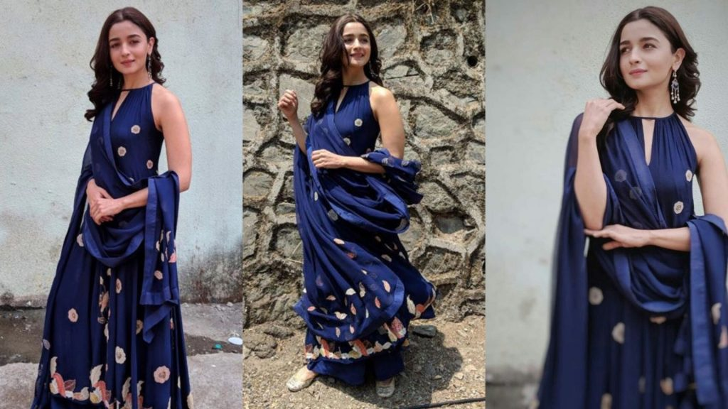 Blue Long kurta with palazzo