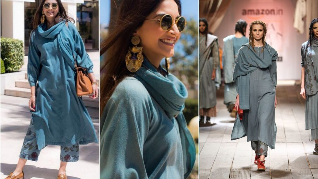 Sonam Kapoor Blue Straight kurta with Pants
