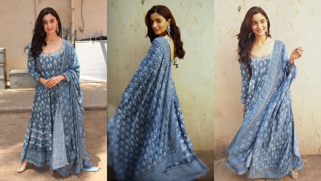 Long Anarkali style Blue Kurti Designs of Alia Bhatt