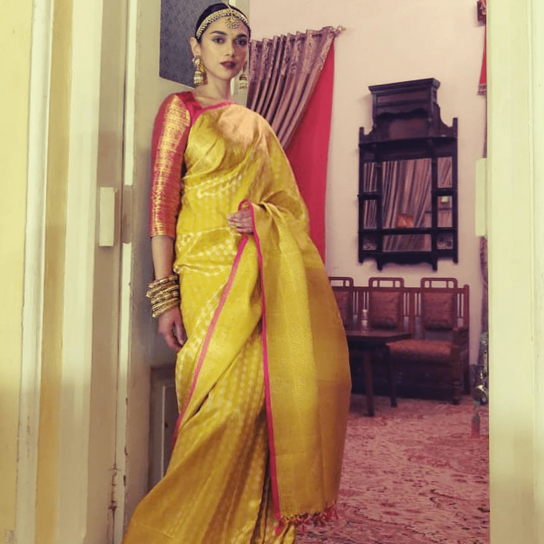Aditi Rao Hydari in a yellow Kanjeevaram saree
